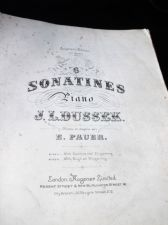 ANTIQUE SHEET MUSIC BOOK JL DUSSEK E PAUER 6 SONATINES AUGENERS 8122A 1878